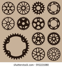 bicycle gear cogwheel sprocket symbols chain wheel
