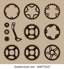 bicycle gear cogwheel sprocket symbols chain wheel collection