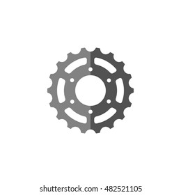 Bicycle gear icon in flat color style. Transportation sport mechanical repair parts