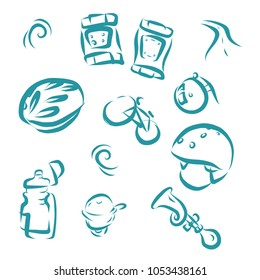 Bicycle hand drawn vector icons