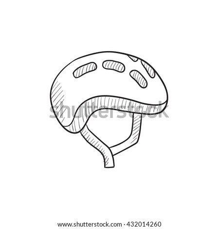 Bicycle Helmet Vector Sketch Icon Isolated Stock Vector Royalty