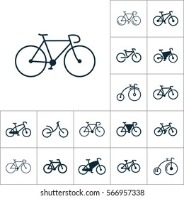 bicycle icon, bike set on white background