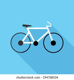 Bicycle icon. Flat design style modern vector illustration. Isolated on stylish color background. Flat long shadow icon. Elements in flat design.