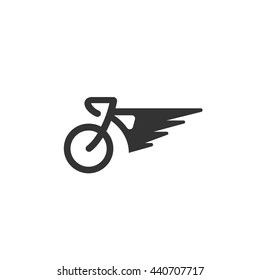 Bicycle icon isolated on a white background. Logo silhouette design template. Simple symbol concept in flat style. Abstract sign, pictogram for web, mobile and infographics - stock vector