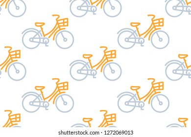 Bicycle icon in line style isolated on white background.  Seamless pattern stock vector illustration