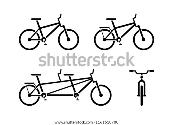 Bicycle Icon Pictogram Classic Tandem Bike Stock Vector (Royalty