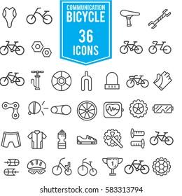 Bicycle icon set illustration design, line EPS10