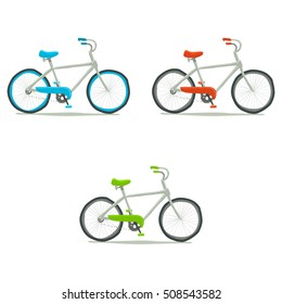 Bicycle icon set. Vector hand drawn illustration of tiny cute green, red, blue bicycle. For ui, games, and patterns.