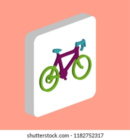 Bicycle icon Simple vector icon. Illustration symbol design template for web mobile UI element. Perfect color isometric pictogram on 3d white square. Bicycle icons for your business project