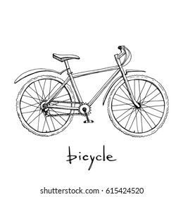 Bicycle icon in sketchy style/ Hand drawn vector illustration