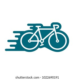 bicycle icon in trendy flat style, motion of bicycle