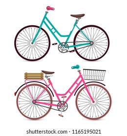 Bicycle Icon. Vector Bike Symbol. Pink and Blue Retro Bicycles Set Isolated on White Background.