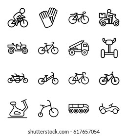 Bicycle icons set. set of 16 bicycle outline icons such as bike, exercise bike, gloves, truck rocket, weapon truck, delivery bike
