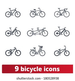 Bicycle icons: vector set of different bike signs