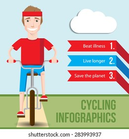 Bicycle infographics concept with front view of smiling hipster man riding on a bike. Vector fiat illustration. Health Benefits of Cycling. Health lifestyle