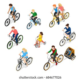 Bicycle isometric people set of isolated bike rider faceless human characters of different age and gender vector illustration