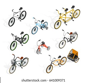 Bicycle isometric set of isolated adult and kids bike images with tandem cycle and burley cub vector illustration