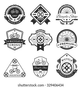 Bicycle labels, emblems, logo vector template vector set. Bike design sticker or stamp, vintage element illustration
