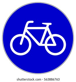 Bicycle lane, bicycle route, blue mandatory sign, vector illustration.
