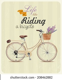 Bicycle with lavender in basket. Poster in vintage style. Vector illustration.