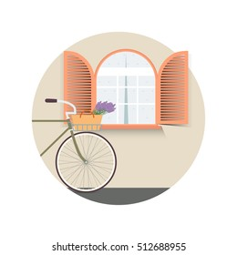 Bicycle with lavender in basket. Sweet home. Vector illustration.