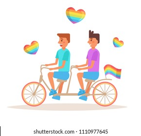 Bicycle LGBTQ Vector. Cartoon. Isolated art on white background. Flat