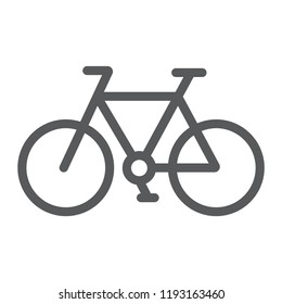 Bicycle line icon, cycle and sport, bike sign, vector graphics, a linear pattern on a white background, eps 10.