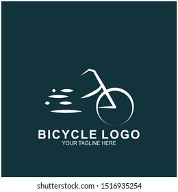 Bicycle logo design template.  Cycling race vector icon illustration