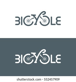 Bicycle logo typographic design. Isolated icon. Vector illustration.