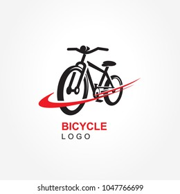 Bicycle logo vector curves red