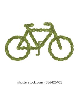 Bicycle made of leaves