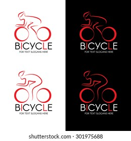 Bicycle and man line logo vector design