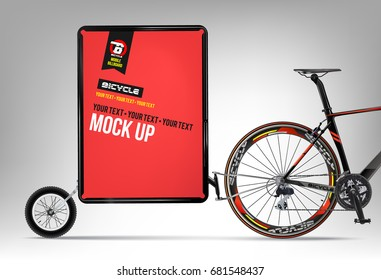 Bicycle. Mobile billboard. Mock up.Outdoor advertising. Billboard, Street banner. City Marketing. Trailer