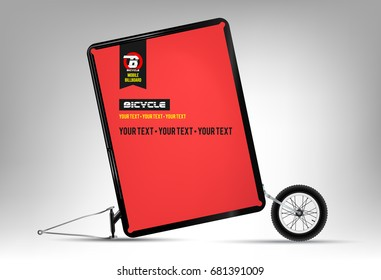 Bicycle. Mobile billboard. Wheel. Outdoor advertising. Mock up