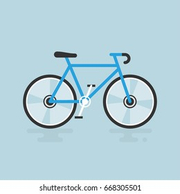 Bicycle modern flat illustration. Blue bike vector icon.