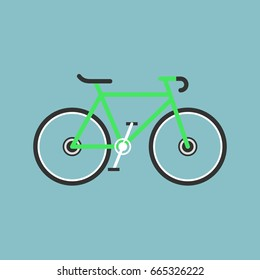 Bicycle modern flat illustration. Lime green bike vector icon.