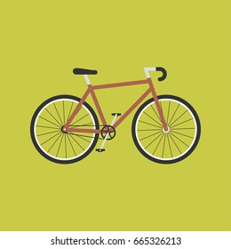 Bicycle modern flat illustration. Red bike vector icon.