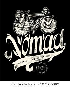 Bicycle nomad vintage travel bicycle t-shirt print