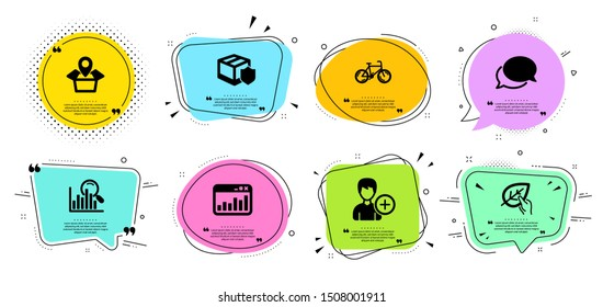 Bicycle, Organic tested and Add person line icons set. Chat bubbles with quotes. Messenger, Delivery insurance and Search signs. Marketing statistics, Package location symbols. Bike, Paraben. Vector