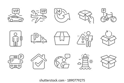 Bicycle parking, Truck parking and Lighthouse line icons set. Vip transfer, Open box and Return package signs. Vip flight, Hold box and Elevator symbols. 24 hours. Bike park, Free park. Vector