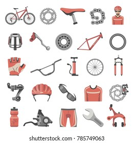 Bicycle parts and equipment icons