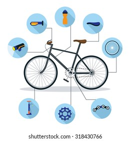 Bicycle and Parts Objects Flat Icons Infographic, Cycling, Riding