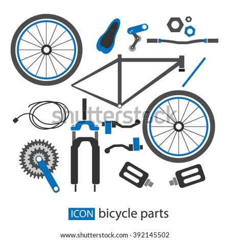 Bicycle Parts Vector Stock Vector Royalty Free 392145502