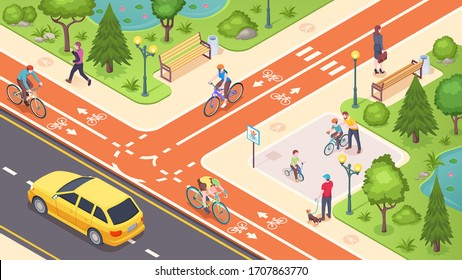 Bicycle path and bike road lane in city street, vector isometric illustration. Urban traffic road lane with biking, pedestrian and transport path, crossing marking and children bicycle playground
