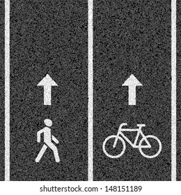 Bicycle and pedestrian paths. Vector.