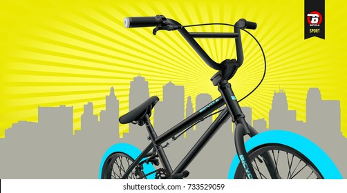 Bicycle Poster Vector Illustration. Extreme BMX template. City background.