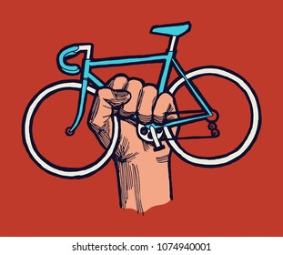 Bicycle protest sign - hand holding bicycle - bike guerrilla