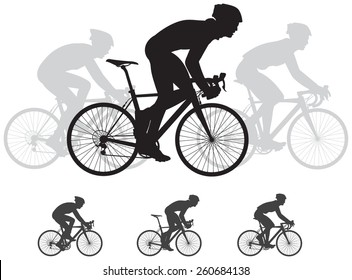 Bicycle race vector silhouettes, cycle race derby sport series