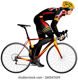 Bicycle racer 2 dynamic start realistic vector illustration, cycle race derby sport series