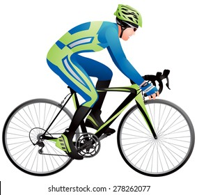 Bicycle racer 3 realistic vector illustration, cycle race derby sport series